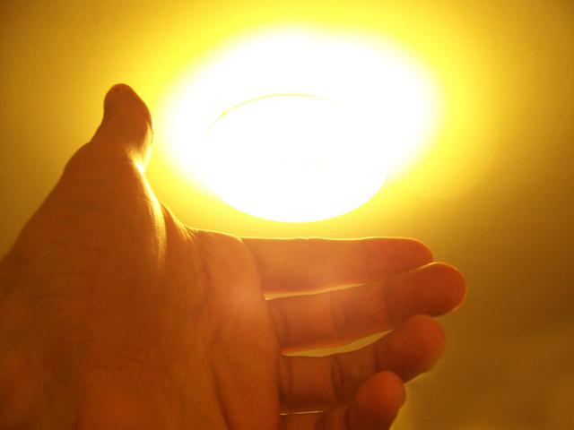 rozsvícené LED světlo