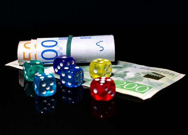 hazard, kostky, peníze